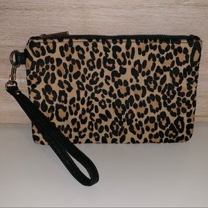 Express leopard print calf hair wristlet